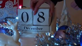 8th December Date Blocks Advent Calendar stock footage