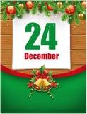 24th December date on calendar, christmas decorations. Date on calendar, christmas decorations stock illustration