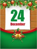 24th December datum på kalendern, julgarneringar Arkivfoto