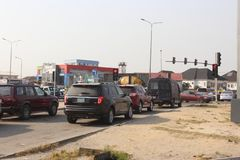 Lagos traffic lights- Epe expressway, Lagos Nigeria. 15TH December, 2018, Lagos Nigeria. Triffic Gridluck, regular traffic build-up during christmas festive stock photography
