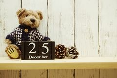25th December Months wooden calendar Merry Christmas and Happy New Year background. Merry Christmas and Happy New Year background with 25th December Months stock photography