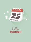 25th December på kalendern för julbegrepp Royaltyfria Bilder