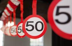 50th decoração do aniversário Foto de Stock