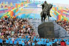 Th die Moskau-Stadttage vorbereitend, nähern Sie sich Denkmal Lizenzfreies Stockfoto