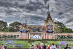 60th Disneyland Front Entrance Arkivfoto