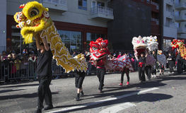 115th Dragon Parade dorato, nuovo anno cinese, 2014, anno del cavallo, Los Angeles, California, U.S.A. Fotografia Stock