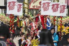 115th Dragon Parade dorato, nuovo anno cinese, 2014, anno del cavallo, Los Angeles, California, U.S.A. Immagine Stock Libera da Diritti