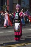 115th Dragon Parade dourado, ano novo chinês, 2014, ano do cavalo, Los Angeles, Califórnia, EUA Imagens de Stock