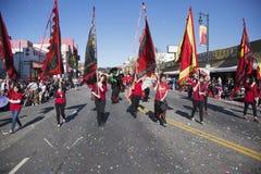 115th Dragon Parade dourado, ano novo chinês, 2014, ano do cavalo, Los Angeles, Califórnia, EUA Imagem de Stock