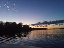 4th eller Juli solnedgång fotografering för bildbyråer