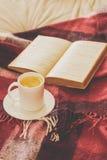 Thé et lecture Photo stock