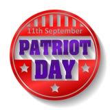 11th färgrikt runt emblem för September patriotdag med skugga Arkivbild