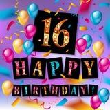16th födelsedagberöm med färgballonger Royaltyfri Foto