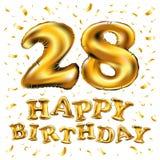 28th födelsedagberöm med guld sväller, och färgrik konfetti blänker design för illustration 3d för ditt hälsningkort, birthd Arkivbild