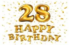 28th födelsedagberöm med guld sväller, och färgrik konfetti blänker design för illustration 3d för ditt hälsningkort, birthd Royaltyfri Foto