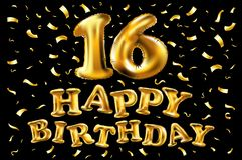16th födelsedagberöm med guldballonger och färgrika konfettier, blänker design för illustration 3d för ditt hälsningkort, födelse Arkivfoto