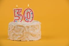 50th födelsedagkaka Fotografering för Bildbyråer