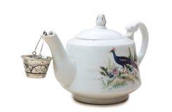 th för teapot för ryss för 19 århundrade fabriksporslin Royaltyfri Fotografi