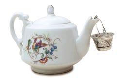 th för teapot för ryss för 19 århundrade fabriksporslin Arkivfoton