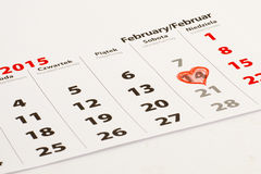 14th Februari med hjärta Arkivfoton
