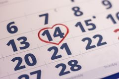 14th februari på kalender Royaltyfri Foto