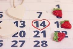14th februari på kalender Arkivfoto
