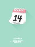 14th februari på kalendern för valentinbegrepp Royaltyfri Bild