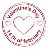 14th Februari valentindag Röd form för stämpelavtryckhjärta Arkivfoto