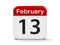 13th February. Calendar web button - The Thirteenth of February - World Radio Day, three-dimensional rendering, 3D illustration Royalty Free Stock Photography