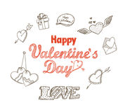 14th February collection. Happy Valentine`s Day elements royalty free illustration