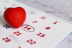 14th february date and red heart Stock Image