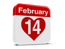 14th February with heart. Calendar web button - The fourteenth of February, three-dimensional rendering vector illustration
