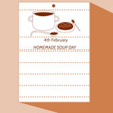 4th February - Homemade Soup Day. Simple stylized cartoon drawing of calendar letter with pot, ladle, plate, spoon, soup. In amiably brown hue Royalty Free Illustration