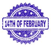 Scratched 14TH OF FEBRUARY Stamp Seal. 14TH OF FEBRUARY stamp imprint with scratched style. Blue vector rubber seal print of 14TH OF FEBRUARY caption with stock illustration