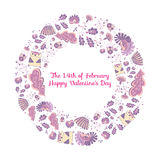 The 14th of February. Vector. Vector frame ornament circular wreath of flowers and herbs with owls. Vector illustration of a wreath with floral elements and Royalty Free Stock Photography