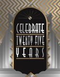 25th Anniversary Party Art Deco Flyer. 25th Fifty Anniversary Party Flyer Art Deco Gold Silver Elegant Celebrate Celebration diamond bash poster vector Stock Photography