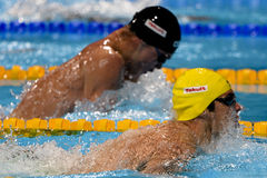5th fina world championships Barcelona 2013. The Australian swimmer SPRENGER Christian during the final Men's 4x100m Medley Relay at 15th fina world Stock Images