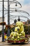 48th Flower Carnival in Debrecen, Hungary. Debrecen, Hungary - August 20, 2017: Giant flower composition in the form of dogs is shown during the 48th Flower Royalty Free Stock Photos