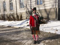 78th Fraser Highlanders bearded bagpiper royalty free stock photo