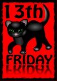 13th fredag affisch Humoristisk reklamblad med lite den svarta kattungetecknade filmen på röd bakgrund royaltyfri illustrationer