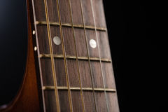 12th Fret of an Acoustic Guitar Stock Photo
