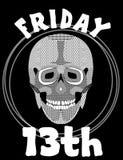 13th friday Bild med skallen 13 fredag olycklig dag Illustration med skallen Skalleteckning Royaltyfri Fotografi