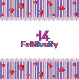 14TH OF FURNITURE. Valentine`s Day. Postcard, banner, poster. The design of the congratulations for Valentine`s Day Royalty Free Stock Photography