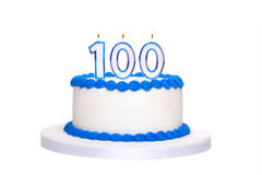 100th gâteau d'anniversaire Image stock