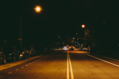 19th gata på natten, på den Du Pont cirkeln, i Washington, DC Royaltyfri Fotografi