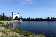 13th gateway of the Volga-don canal in the village Piatigorsky. Royalty Free Stock Image