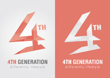 4th generation icon symbol from an alphabet letter number 4. Creative design Stock Photo