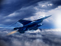 4th generation US fighter jet. An illustration of a modern 4th generation US fighter jet as soars through the clouds with empty weapons pylons. (Computer art royalty free illustration