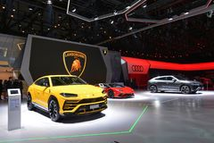 88th Geneva International Motor Show 2018 - Lamborghini stand stock photography