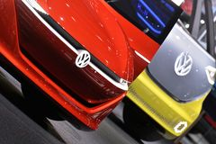 88th Geneva International Motor Show 2018 - Volkswagen concept car fronts. Volkswagen I.D. Buzz electric self-driving camper and Volkswagen I.D. Vizzion royalty free stock images
